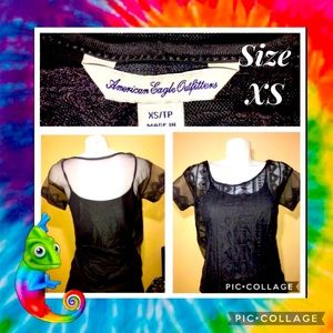 2/$30 AMERICAN EAGLE WOMENS SHORT SLEEVE LACE 2 PC BLOUSE SIZE XS
